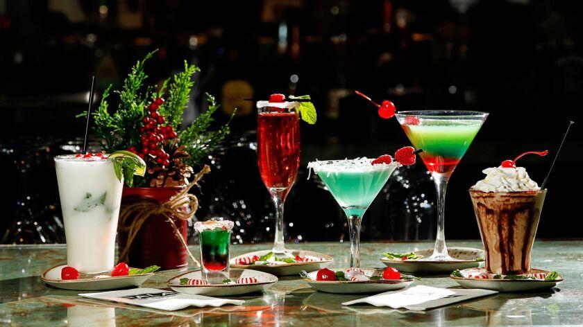 SAN DIEGO, CA October 16th, 2018 | Pala drinks: (Left to right) White Christmas Mojito, Santa's Shot