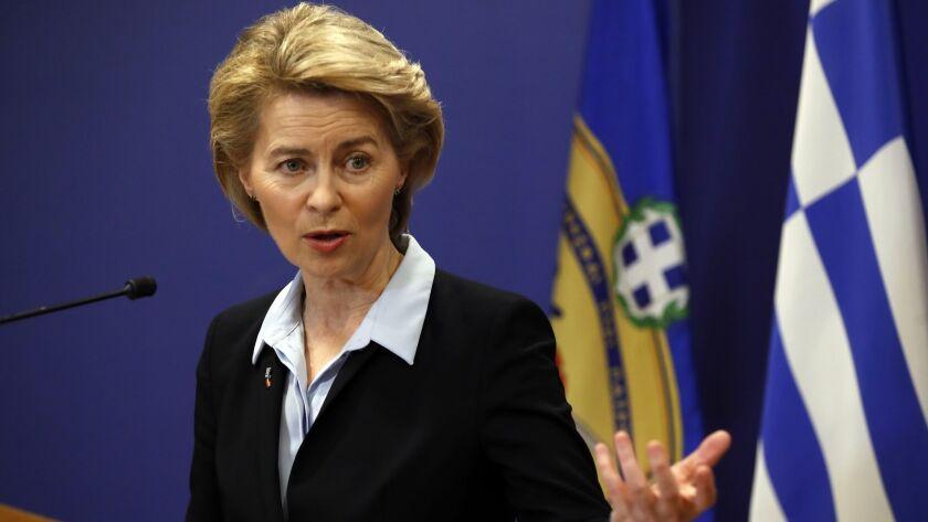 FILE - In this Tuesday, March 5, 2019 file photo, German Minister of Defense Ursula von der Leyen sp