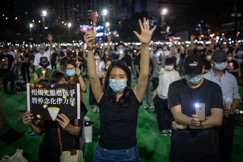 An illegal commemoration in Hong Kong on June 4, 2020, to mark the anniversary of the 1989 Tiananmen Square massacre.