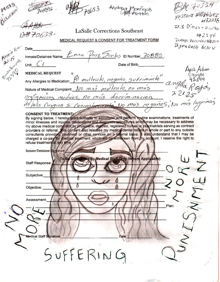 A drawing depicts a woman crying on a medical consent form.