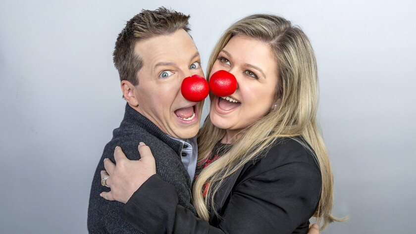 """Sean Hayes and Kelly Clarkson in """"Red Nose Day Specials"""" on NBC."""
