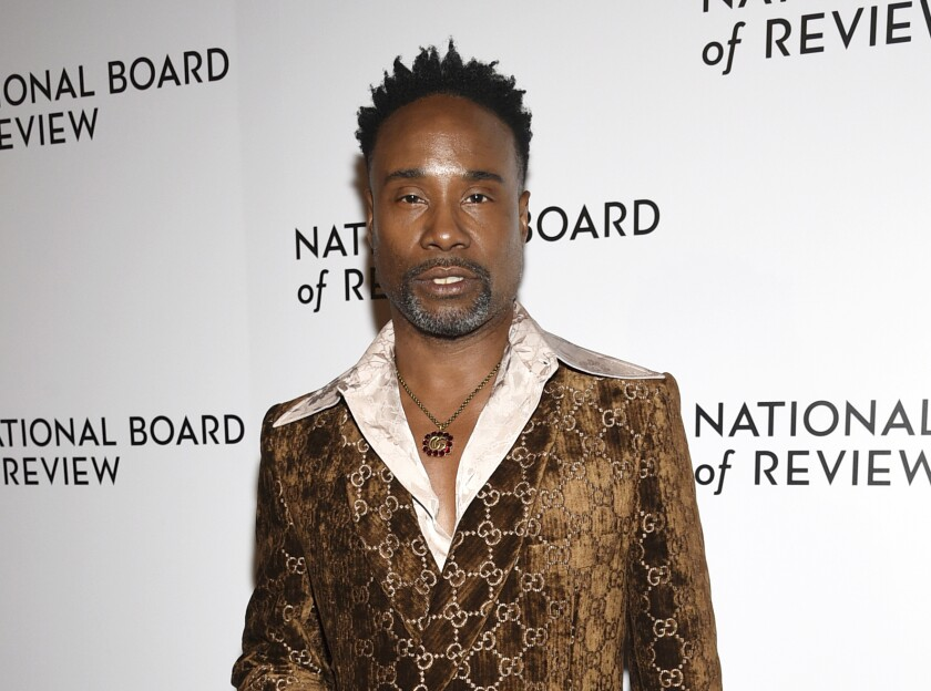 "FILE - Billy Porter attends the National Board of Review Awards gala in New York on Jan. 8, 2020. Porter narrates ""EQUAL,"" a new docuseries on HBO Max that traces the history of the gay rights movement through the Stonewall uprising in 1969. (Photo by Evan Agostini/Invision/AP, File)"
