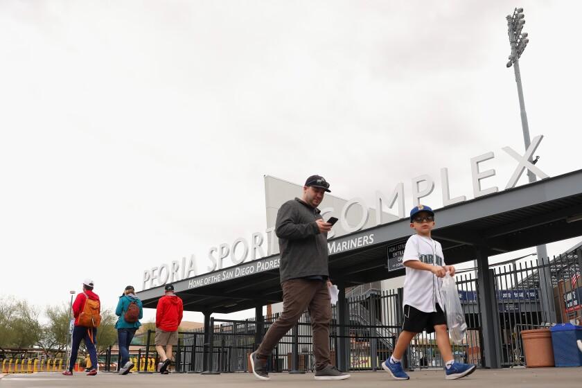 Peoria Stadium on March 12, 2020 in Peoria, Arizona.