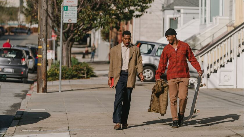 "Jonathan Majors and Jimmie Fails in the movie ""The Last Black Man in San Francisco."""
