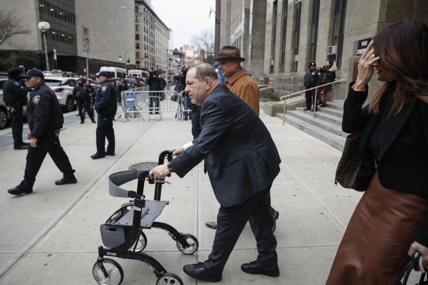 Harvey Weinstein departs a Manhattan courthouse for his rape trial, Wednesday, Feb. 5, 2020, in New York. (AP Photo/John Minchillo)