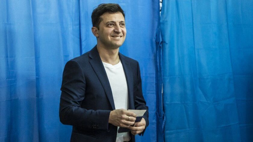 Ukrainian presidential candidate Volodymyr Zelensky casts his ballot April 21, 2019, in Kiev.