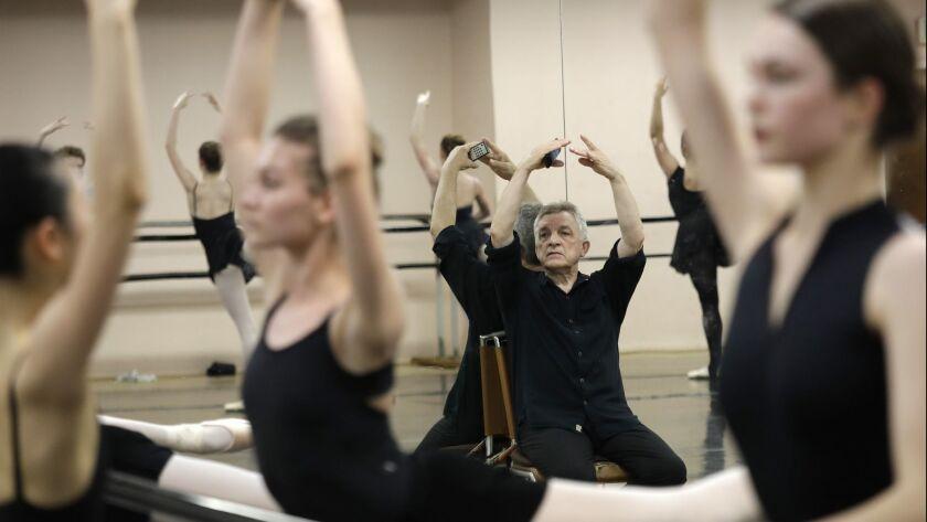 LOS ANGELES, CA -- JUNE 12, 2019: Marat Daukayev supervises advanced students during warmup at his b