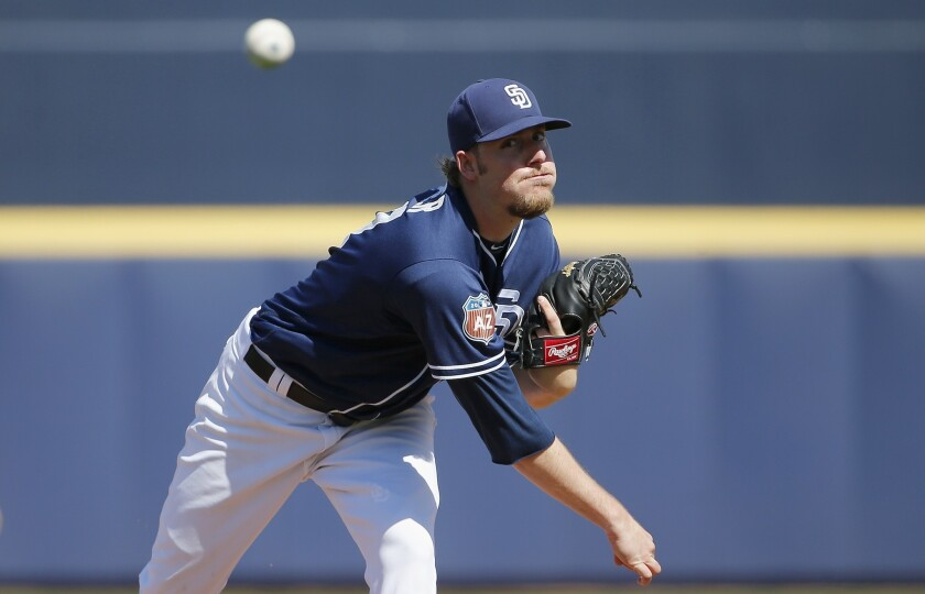 Padres pitcher Brandon Maurer warms up during the second inning of a spring training baseball game against the Arizona Diamondbacks, Tuesday, March 8, 2016, in Peoria, Ariz. (AP Photo/Ross D. Franklin)