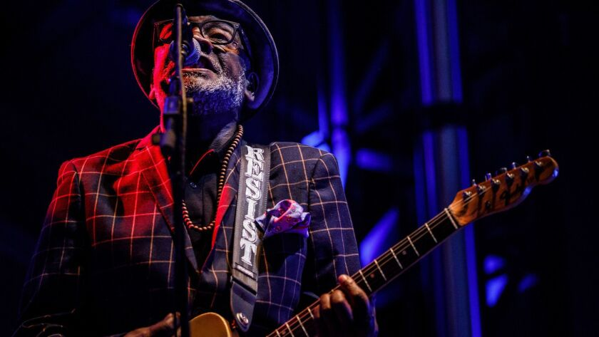PASADENA, CALIF. -- SATURDAY, JUNE 23, 2018: Lynval Golding performs with The Specials at the Arroy