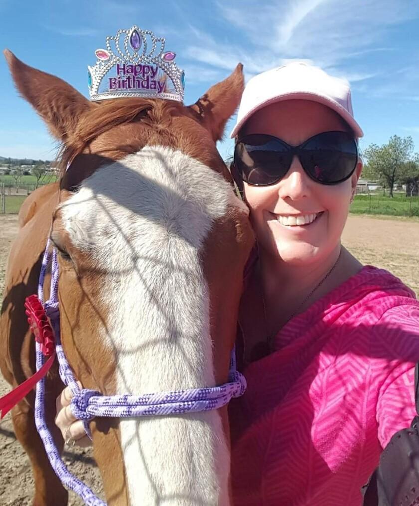 'Trilogy of the Horse' author C.J. Goldsmith celebrating her horse Pema's birthday.