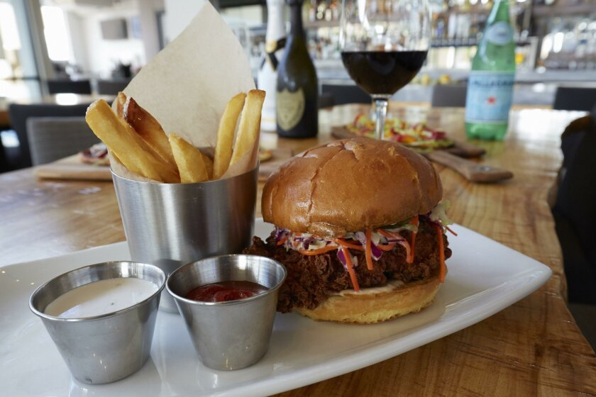 The Crackling Chicken Sandwich entree on the lunch menu at The Lot in La Jolla.