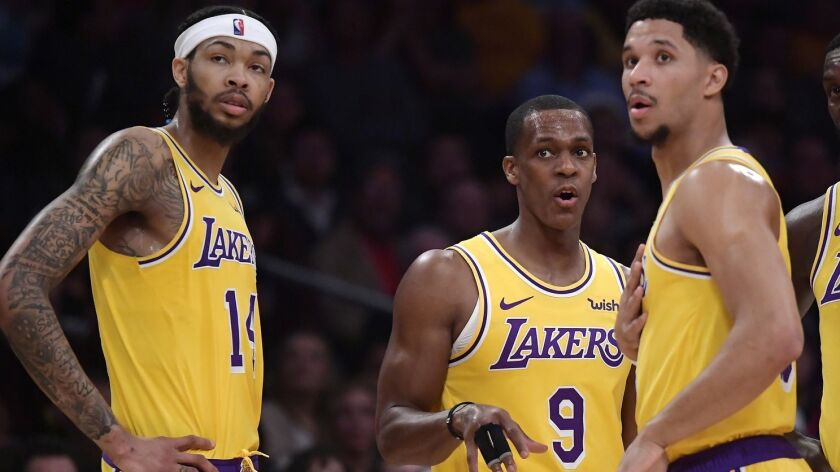 Rajon Rondo (9) returned to the Lakers lineup Thursday, but Josh Hart, right missed practice on Saturday because of knee irritation.