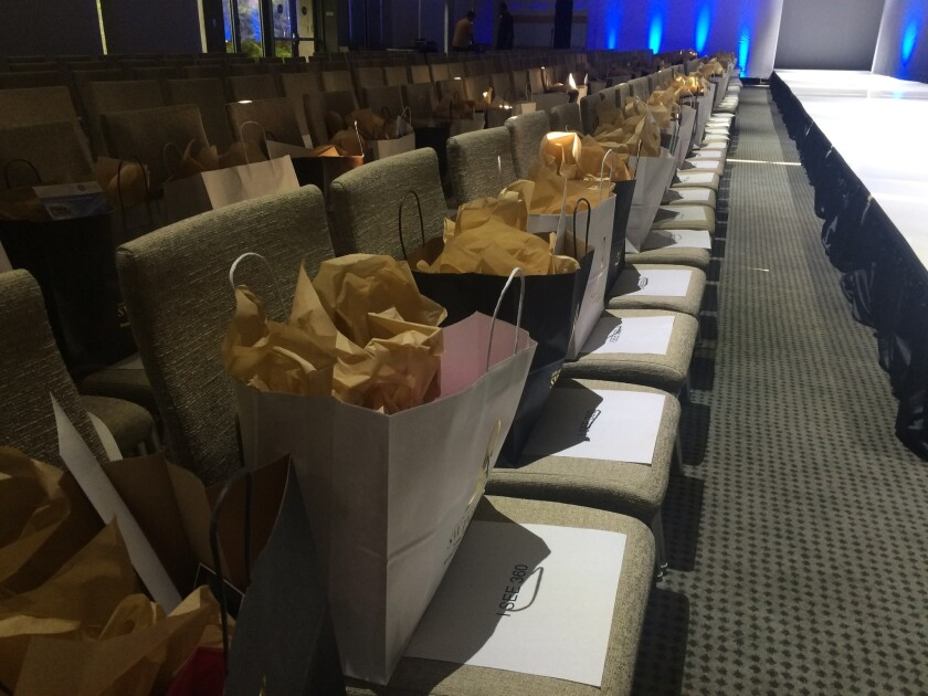 Buyers, retailers and other VIP guests received bags with items such as makeup, collagen and brush cleaners at Swim Week L.A.