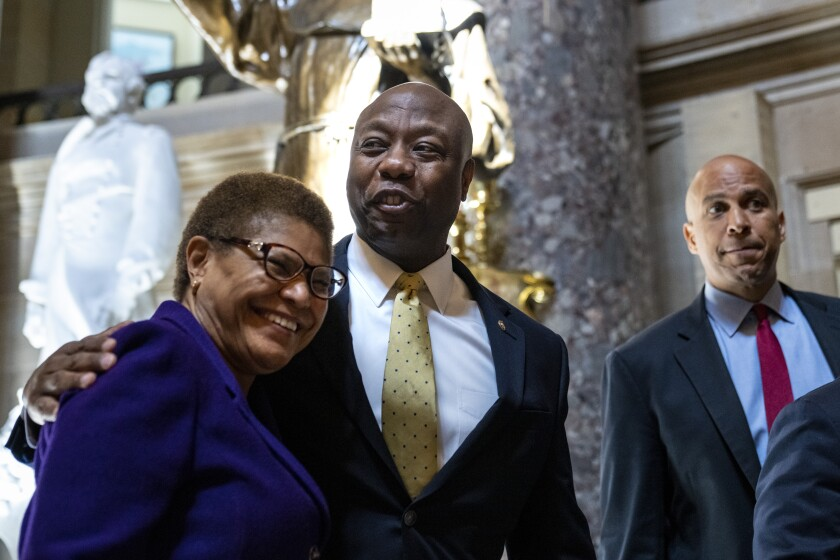 Three Black members of Congress in the Capitol