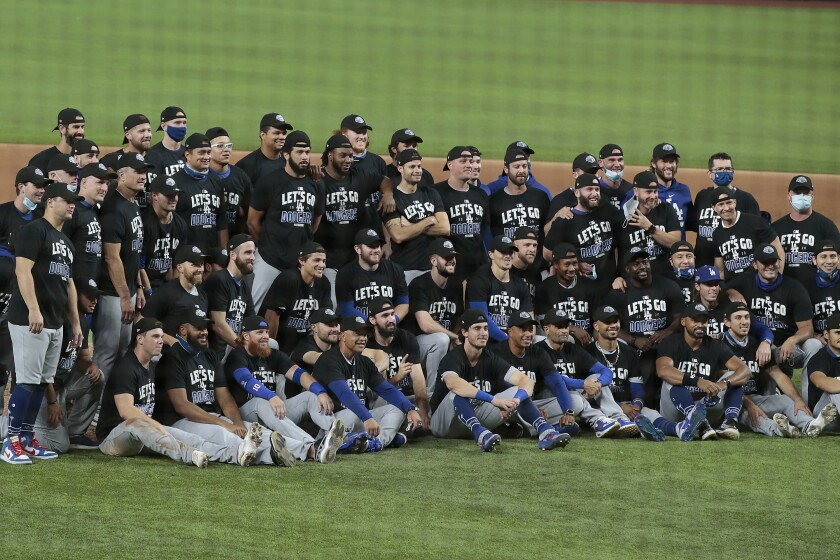 Dodgers celebrate after sweeping the Padres in the NLDS.