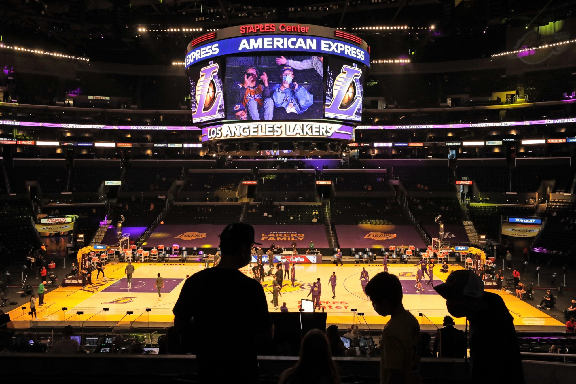 Fans take their seats before the Lakers play the Boston Celtics at Staples Center on April 15, 2021.