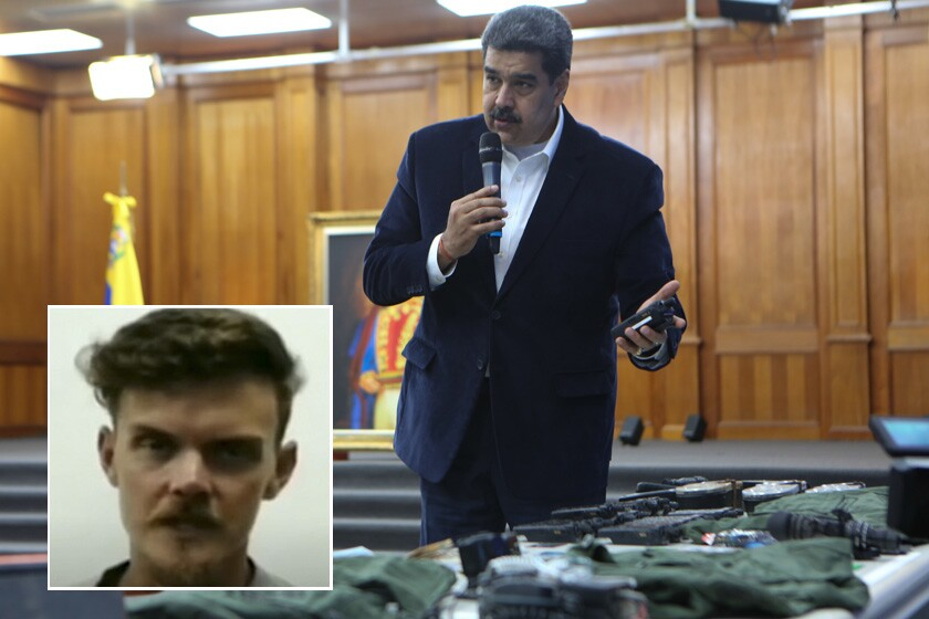 In a video aired by Venezuelan President Nicolás Maduro, 34-year-old Luke Denman, inset, says he signed a contract with a Florida-based company to train rebel troops and carry out an invasion.