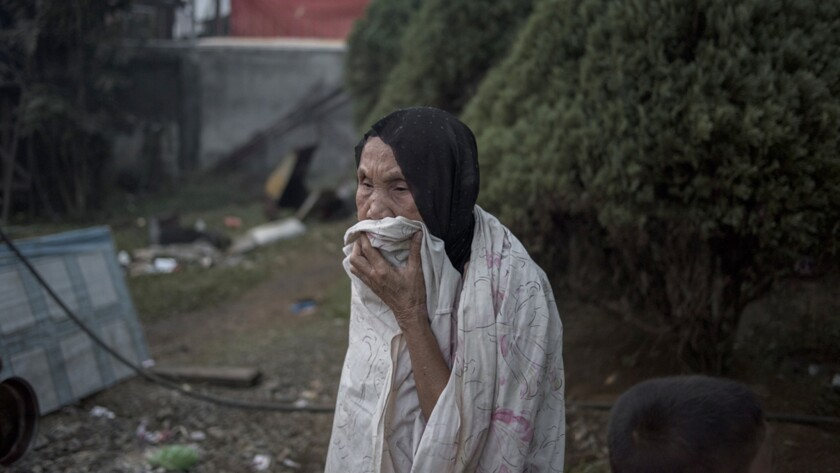 An elderly woman in Saguiaran Evacuation Center