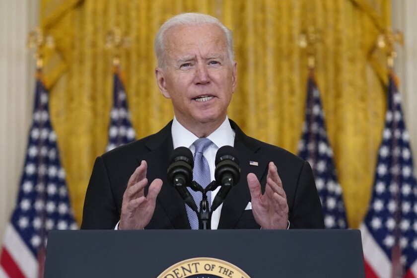 President Joe Biden speaks about Afghanistan from the East Room of the White House, Monday, Aug. 16, 2021.