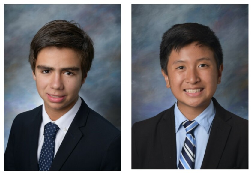 La Jolla Country Day School juniors Ricardo Cervera (left) and Terry Tran co-founded the Torrey Law Review.