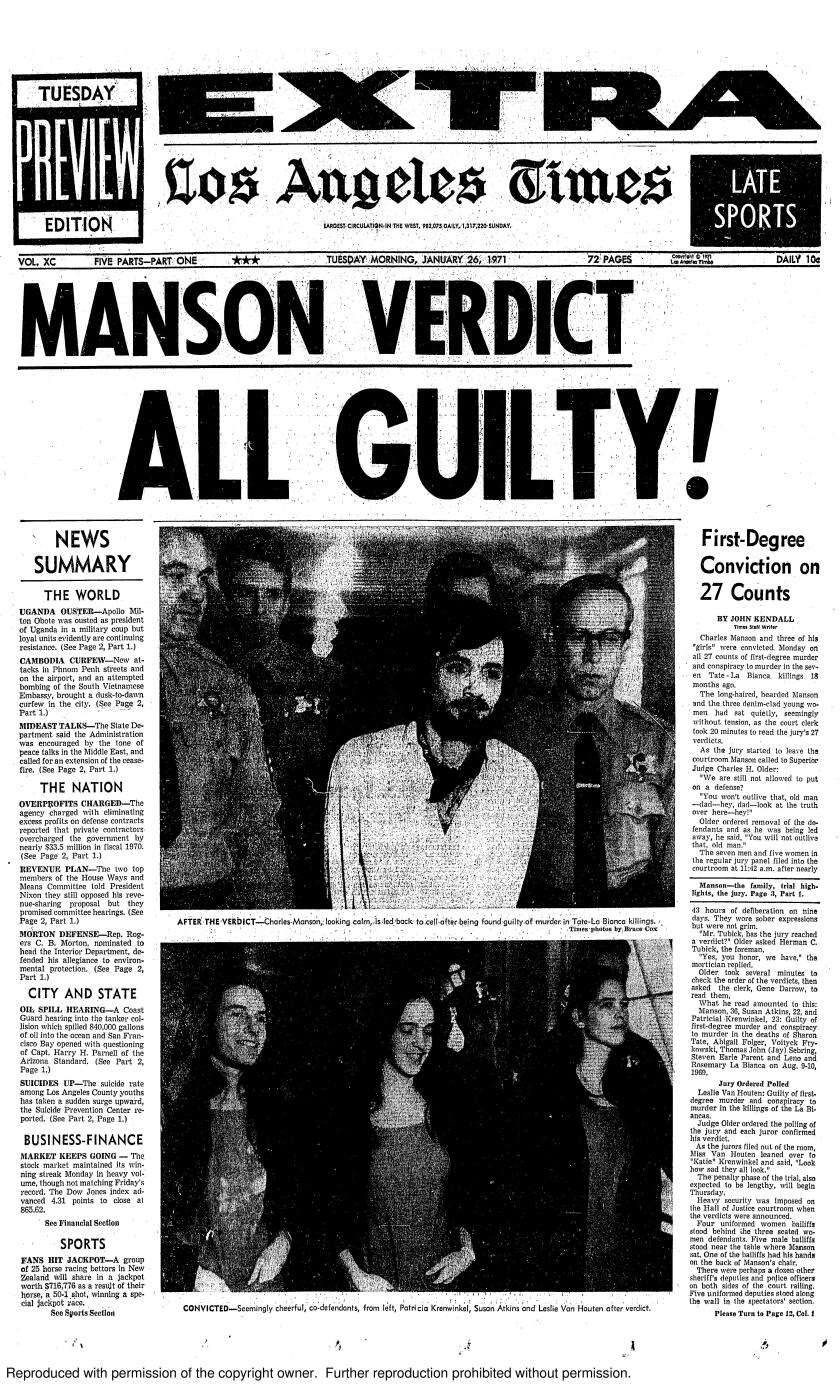 The front page of the Los Angeles Times on Jan. 26, 1971