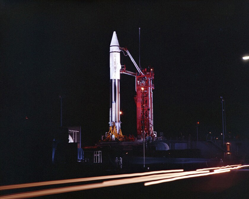 An Atlas Centaur 7 rocket on the launchpad at Cape Canaveral, Fla., in 1966