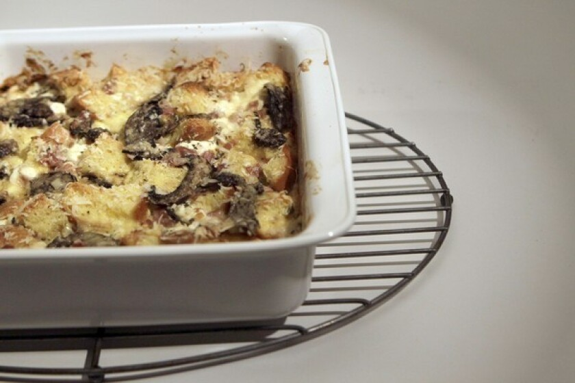 Savory bread pudding.
