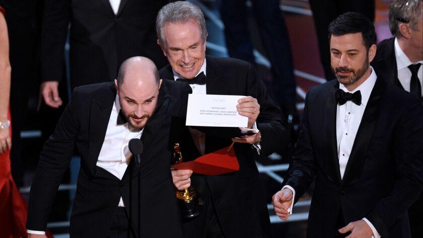 Jordan Horowitz, Warren Beatty, Jimmy Kimmel