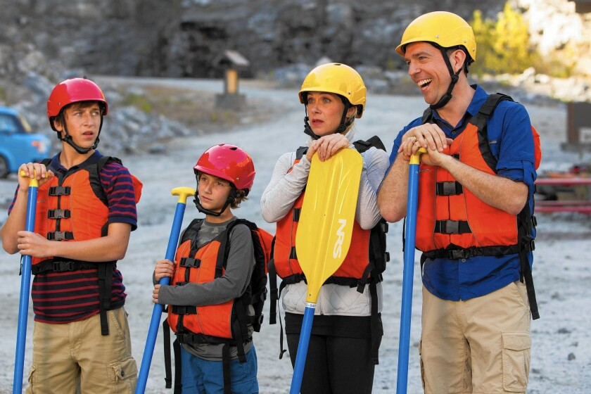 """In the new """"Vacation"""" are Skyler Gisondo, from left, Steele Stebbins, Christina Applegate and Ed Helms."""