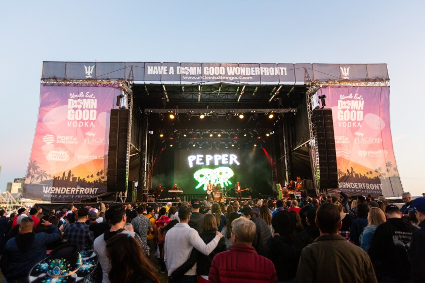 A crowd of festival-goers at Wonderfront Music & Arts Festival