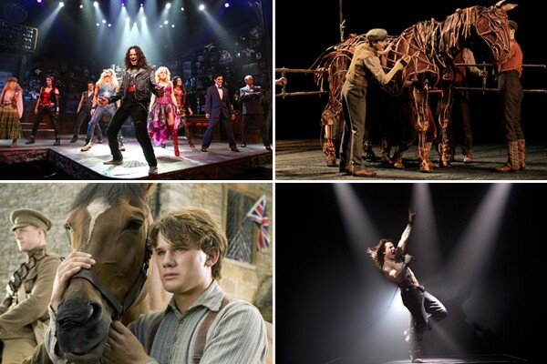 "Plays and musicals have long served as source material for movies, but the coming year will feature a wealth of particularly high-profile titles and A-list talent. (Note: Not every screen adaptation retains the stage work's title.) Here's a look at several prominent projects, listed by stage production first, then film. RELATED: Critic's Notebook: When going from stage to screen, things change in between RELATED: Stage to screen, a coming torrent Pictured, clockwise from top left: Constantine Maroulis in the musical ""Rock of Ages"" (Joan Marcus), Seth Numrich in the play ""War Horse (© Paul Kolnik / Lincoln Center Theater), Tom Cruise in the film ""Rock of Ages"" (David James / Warner Bros.), Jeremy Irvine in the film ""War Horse"" (Andrew Cooper / DreamWorks)."