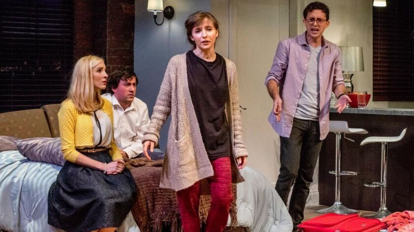 "Katie Sapper, Tom Zohar, Danielle Frimer and Josh Odsess-Rubin (from left) in Cygnet Theatre's ""Bad Jews."""