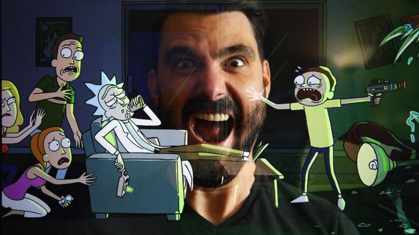 "TV and film composer Ryan Elder joins the characters from ""Rick and Morty"" in this double-exposure portrait taken at his studio."