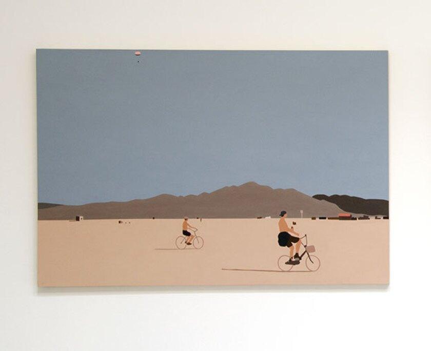 """""""Burning Man"""" by Kota Ezawa (2013); acrylic on wood panel."""