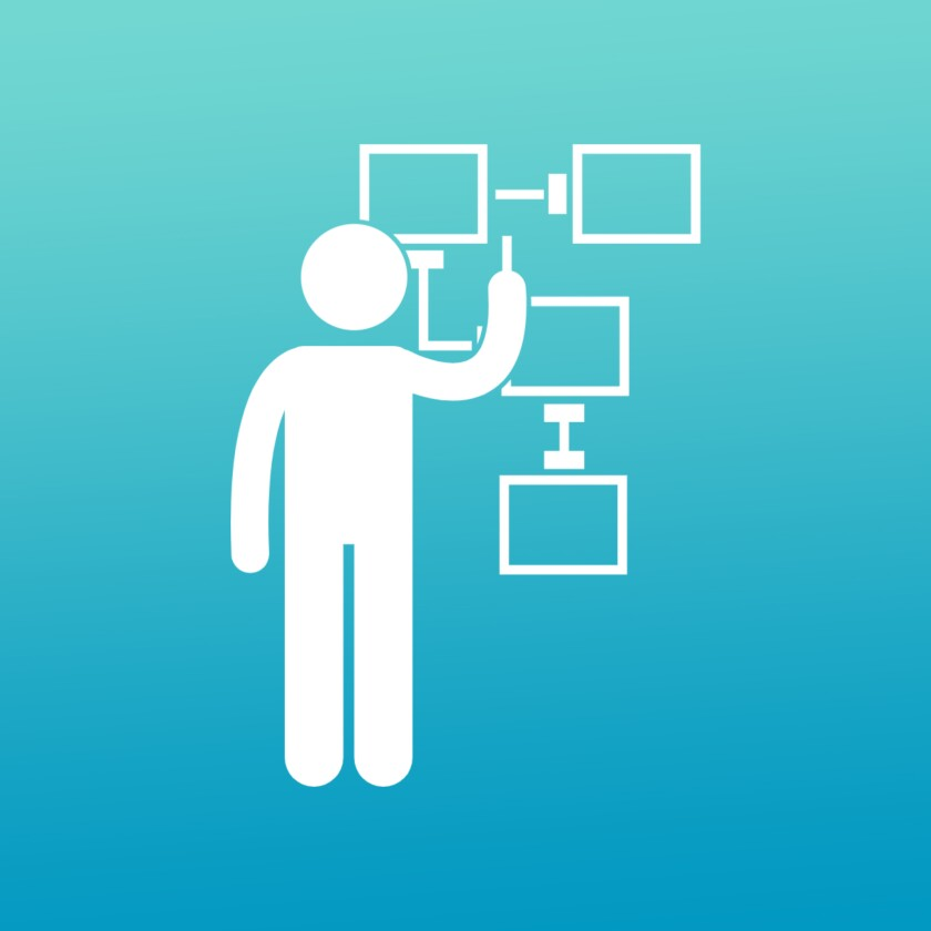 Pictogram of person planning on a flowchart