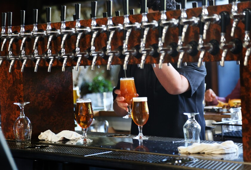 The wide array of taps at Stone Brewery's Escondido location.