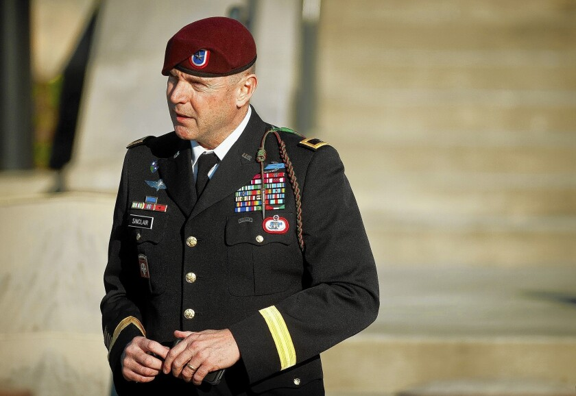 Army Brig. Gen. Jeffrey A. Sinclair leaves a Ft. Bragg, N.C., courthouse in January. He faces sexual assault charges.