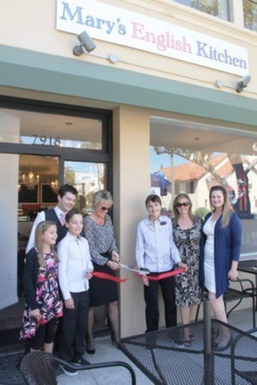 Staff and family of Mary's English Kitchen at 7918 Ivanhoe Ave., one of the business openings announced during LJVMA's April 9 meeting, include ( from left): Grace Ward, Scott Gardner, Toby Ward, Alison Brown, Oliver Ward, Cecile Ward and Emily Morrison. Photo by Leon Chow