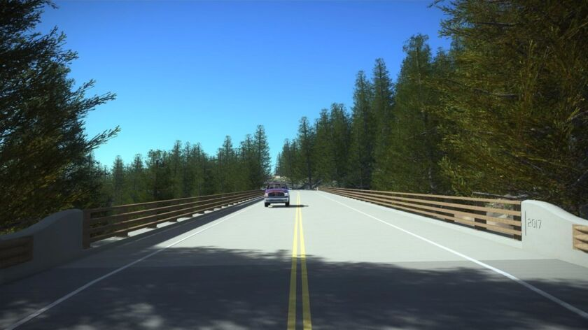 The two-lane bridge may open to the public by the end of September, Caltrans says. (rendering)