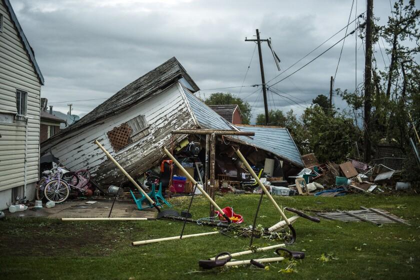 Una vivienda quedó dañada a causa de un tornado en Washington Terrace City, Utah, el jueves 22 de septiembre de 2016. (Chris Detrick/The Salt Lake Tribune vía AP)