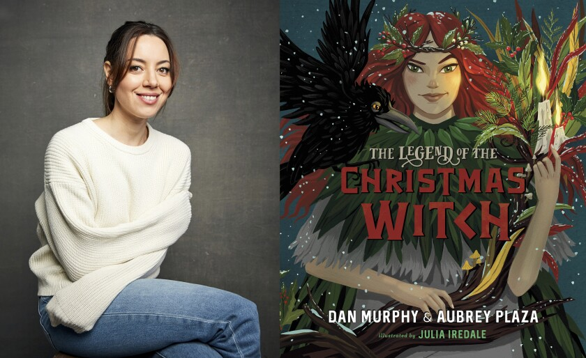 """This combination photo shows a portrait of actress-author Aubrey Plaza, left, and cover art for Plaza's upcoming children's book """"The Legend of the Christmas Witch,"""" co-written with Dan Murphy. The book is scheduled for release on October 12. (AP Photo, left, and Viking Children's Books via AP)"""