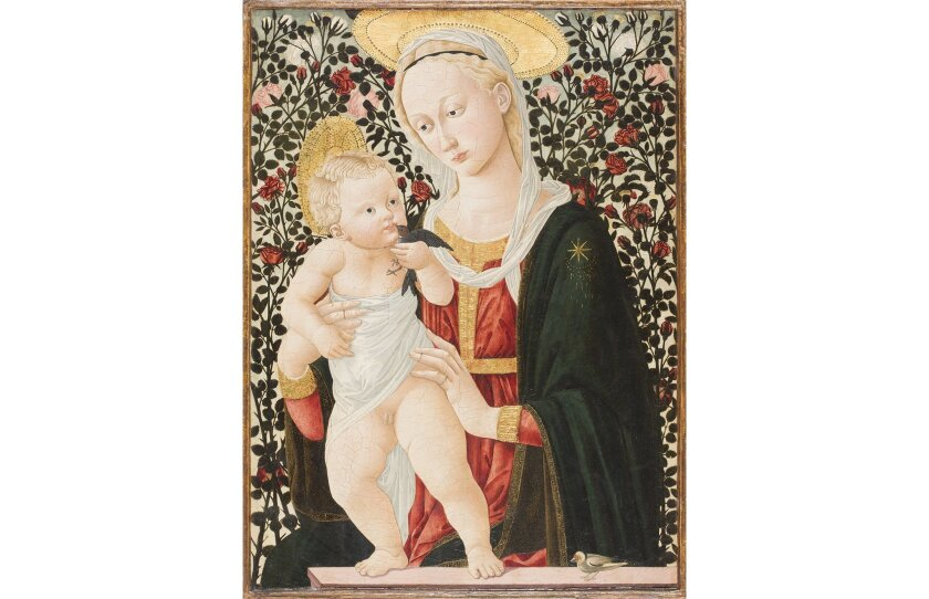 Pseudo Pier Francesco Fiorentino. Madonna of the Roses, ca. 1485-90. Tempera on panel, Gift of the Armand Hammer Foundation, 1973.65. San Diego Museum of Art.