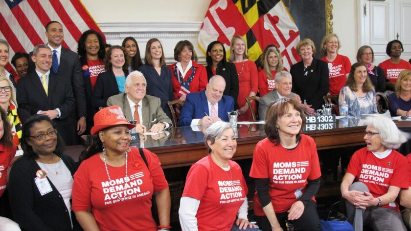 """Maryland Gov. Larry Hogan signs a """"red flag"""" law into effect in April."""