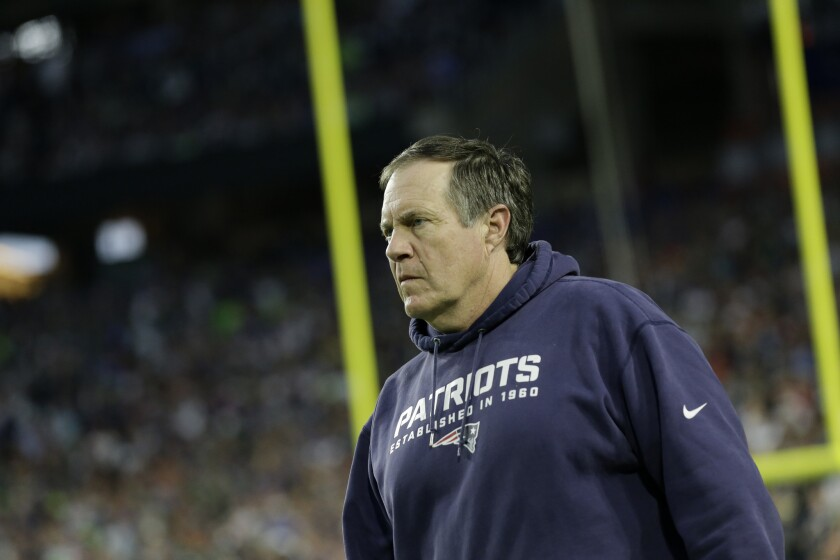 New England Patriots Coach Bill Belichick watches the action during the Super Bowl in Glendale, Ariz., on Feb. 1.