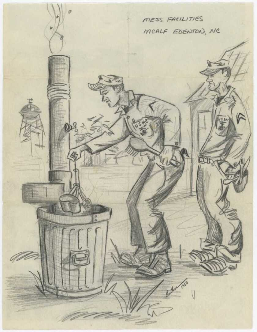 Drawing by Marine Capt. Ron Burton of a Marine washing his cup and folk and spoon in a trash can filled with hot, soapy water outside the mess hall at Marine Corps Auxiliary Landing Field Edenton, North Carolina, after the Korean War. A Marine is waiting behind him, ready to wash his dishes. Courtesy of the Camp Pendleton Historical Society