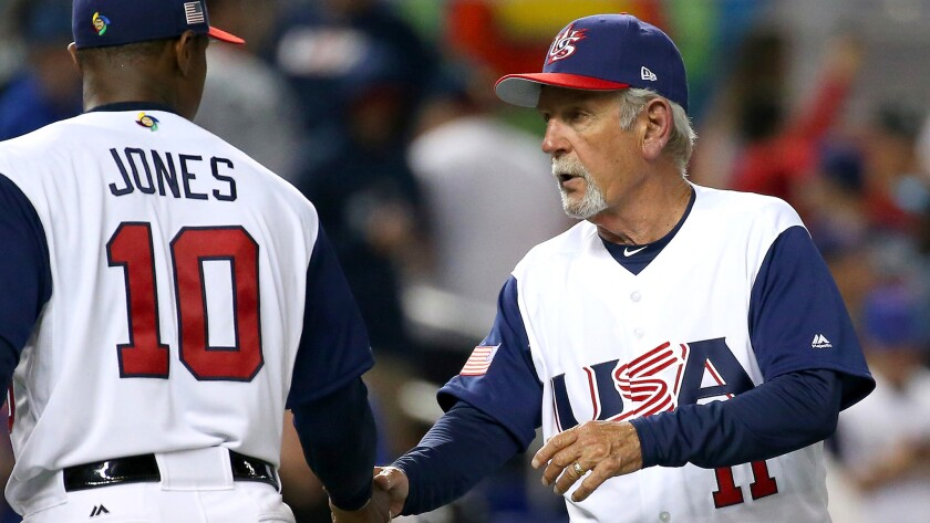U.S. Manager Jim Leyland congratulates center fielder Adam Jones after a victory over Canada last week in the World Baseball Classic.