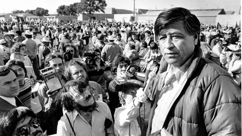 Cesar Chavez talks to striking farmworkers during a rally in Salinas, Calif., on March 7, 1979.