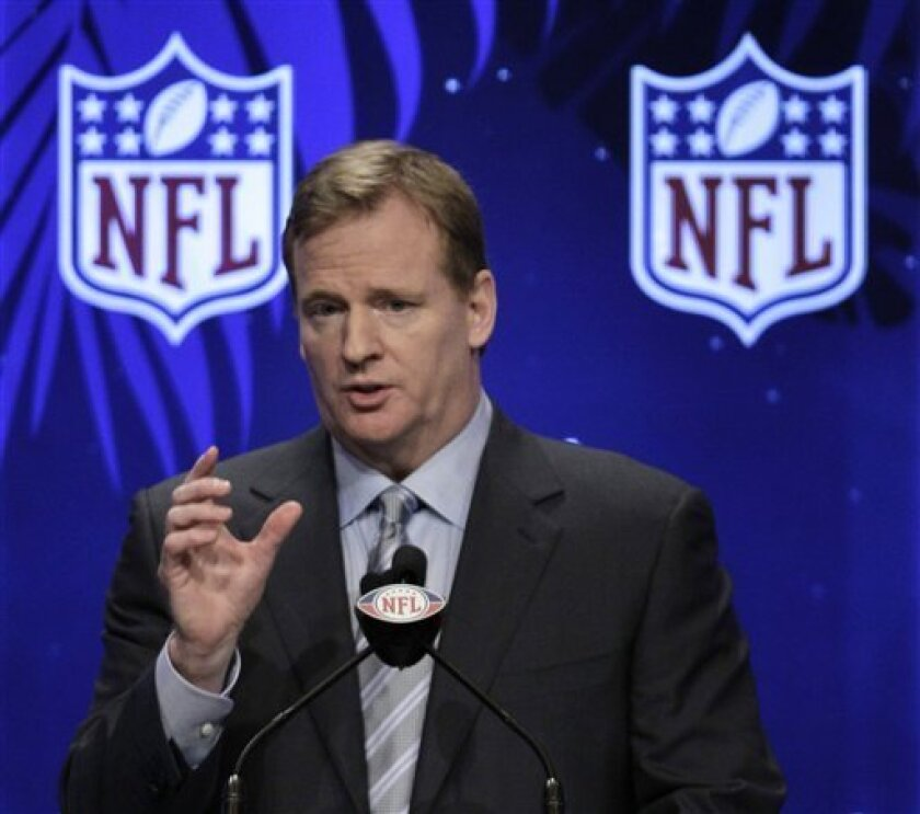 NFL Commissioner Roger Goodell answers a question during a news conference Friday, Feb. 5, 2010 in Fort Lauderdale, Fla. The New Orleans Saints will play the Indianapolis Colts in Super Bowl XLIV Sunday, Feb. 7, at Sun Life Stadium in Miami. (AP Photo/David J. Phillip)