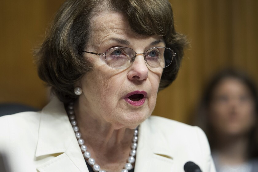 Dianne Feinstein is shown speaking on Capitol Hill in May 2017.