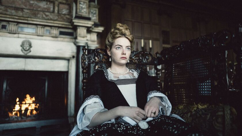 """This image released by Fox Searchlight Pictures shows Emma Stone from the film """"The Favourite."""" On T"""